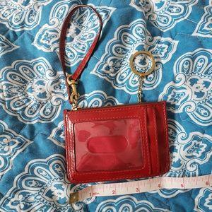 Coach Accessories - Coach Red Patent Classic Pattern Heart Wristlet